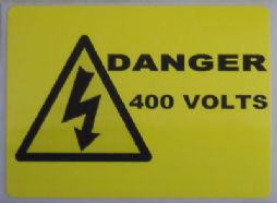 Danger 400V, Electrical Warning Labels (Landscape Type)